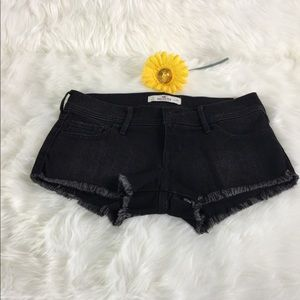 Black Denim Shorts Frayed Hem Hollister